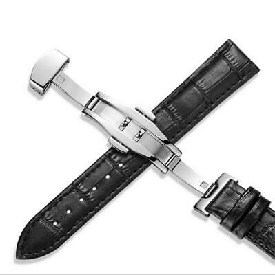 14-24mm Mens Curved Genuine Leather Replacement Watch Band Strap Deployant Clasp