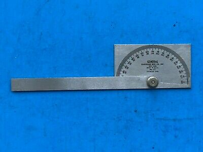 Vintage General Hardware No. 17 Stainless Steel Machinist Protractor USA