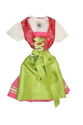 Party Children Dirndl Pink with Blouse & Green Traditional Apron Size 62 -