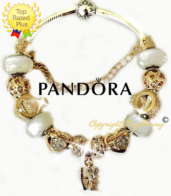 Authentic PANDORA Charm Bracelet Silver Mickey LOVE Gold with European Charms