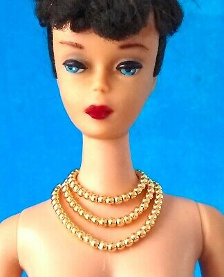 #208 BARBIE Doll Jewelry Double Strand of White Pearls Necklace /& Earrings