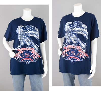 USA American Flag Patriotic Bald Eagle Freedom Red White Blue T-shirt Mens Large