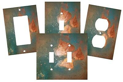 Copper Patina Gold Leaf Trio Design Look  Light Switch Plate Cover Wall Decor