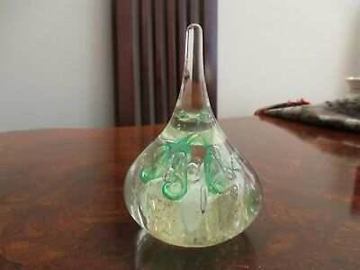 Large teardrop shaped paperweight Mint green & white bubbles & Gold Bits inside