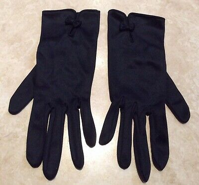 1960s Black Jersey Gloves With Bow Detail