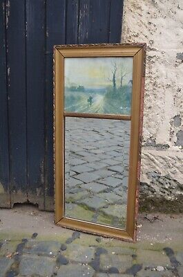 Edwardian Antique Gold Hall Mirror With Picture Top And Distressed Gilded Frame