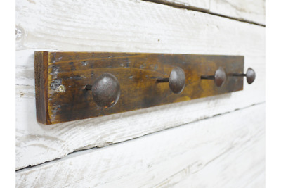 Rustic Coat rack hooks Industrial Reclaimed wood & Iron Chinese nails 48 x 8cm