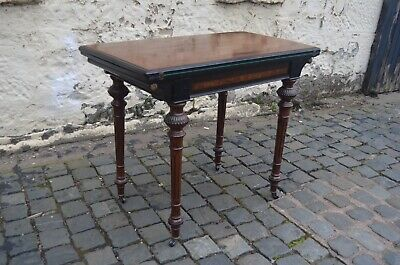 Victorian Mahogany Aesthetic Ebonised Telescopic Inlaid Games Card Table