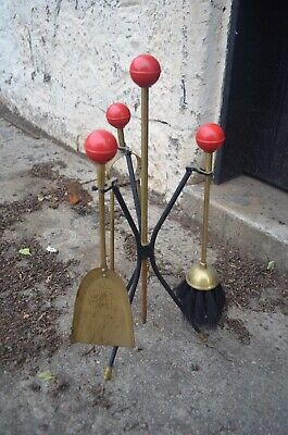 Mid Century Brass Atomic Fireside Companion Set With Red Cue Ball Tops
