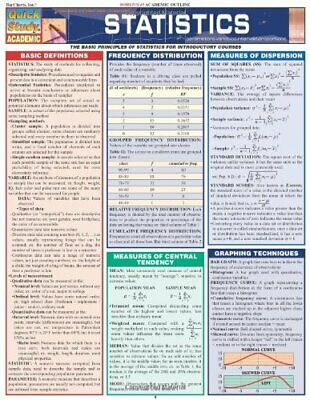 Statistics Laminate Reference Chart: Parameters, Variables, Intervals, Proportio