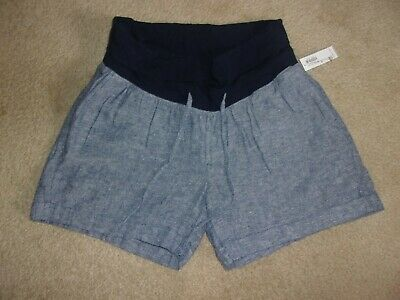 7f2f2a2f31953 Old Navy Linen Blend Navy Heather Maternity Roll Belly Panel Shorts size  Med NWT
