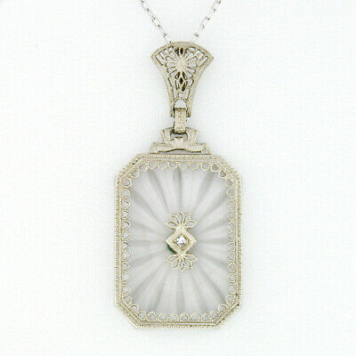 Antique Art Deco 14K Gold Camphor Glass Diamond Milgrain Etched Filigree Pendant