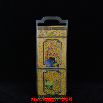 China old antique Lacquer ware Meilan bamboo chrysanthemum portable Food box