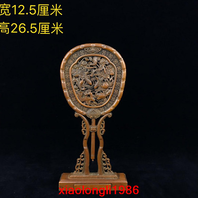 """10.6""""China antique Treasures Boxwood Two-sided carving Lotus fish Flower screen"""