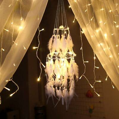 LED Light Big Dream Catcher Feathers Car Home Wall Hanging Decor Ornament Gift