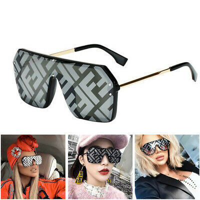 Oversized Square Sunglasses Women F Letter Mirror Coating Shades Fashion UV400