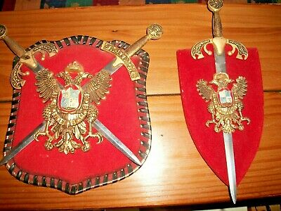 2 Coat Of Arms Knights Templar With Double Head Eagle And Swords Wall Decor
