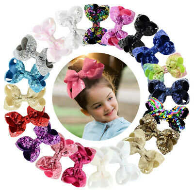 Kids 15pcs Bling Sparkly Glitter Sequins Hair Bows Alligator Clips For Party