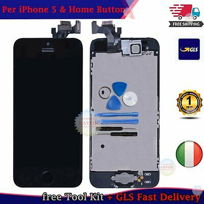 Touch Screen Lcd Display Per Iphone 5 Vetro Schermo Nero + Frame Home Button Gls