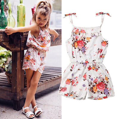 AU Girls Clothes Romper Floral Sling Overall Bodysuit Playsuit Jumpsuit Outfit