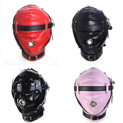 4 Color Synthetic Leather Hood Head Harness Breathable Sexy Mask Gimp Bondage
