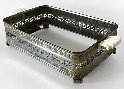 Vtg Casserole Serving Tray Carrier Holder Trivet Antique Deco Silver Bakelite