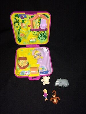 Vtg Polly Pocket Bluebird Compact 1989 Wild Zoo World COMPLETE w Doll & Animals!