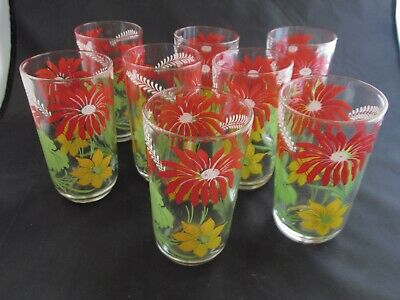 Lot of 8 ca 1960's Vintage Glasses Tumblers Screened Red, Green & Yellow Floral