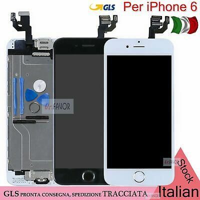 Display Schermo Iphone Per 6 Bianco Touch Screen Lcd Frame Home Button Nero Gls