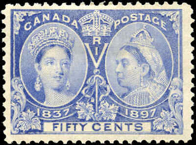 1897 Mint Canada Scott #60 50c Diamond Jubilee Stamp Fine+ (F+) Hinged