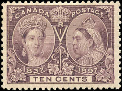 1897 Mint Canada Scott #57 10c Diamond Jubilee Stamp Fine+ (F+) Hinged