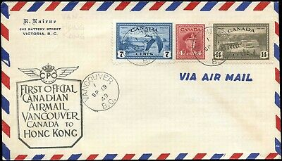 Canada FIRST OFFICIAL CDN AIRMAIL Cover 1949 VANCOUVER to HONG KONG