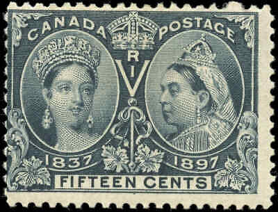1897 Mint Canada Scott #58 15c Diamond Jubilee Stamp Fine (F) Hinged