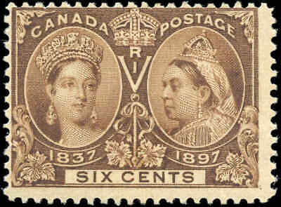 1897 Mint Canada Scott #55 6c Diamond Jubilee Stamp Fine (F) Hinged
