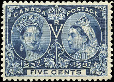 1897 Mint Canada Scott #54 5c Diamond Jubilee Stamp F-VF Hinged