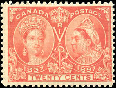 1897 Mint Canada Scott #59 20c Diamond Jubilee Stamp Fine+ (F+) Hinged