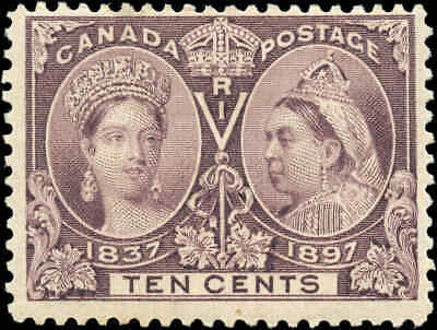 1897 Mint Canada Scott #57 10c Diamond Jubilee Stamp F+ Hinged
