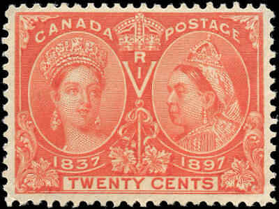 1897 Mint Canada Scott #59 20c Diamond Jubilee Stamp F-VF Hinged