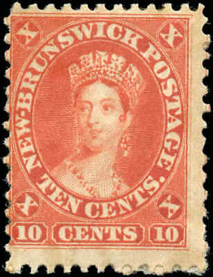 Mint Canada New Brunswick 1860 10c Scott #9 Queen Victoria Stamp Hinged