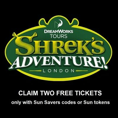 2 Shrek Adventure Tickets  -  with 9 Sun Savers Codes Pick Your Own Date