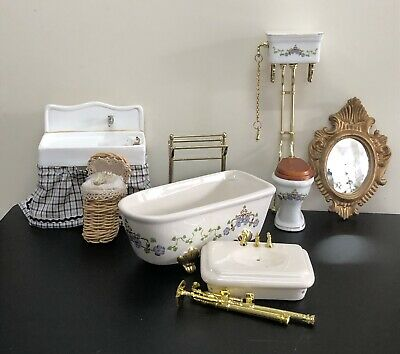 Gorgeous Bathroom & Laundry Furniture 7 Pieces- Victorian Dolls' House Collector