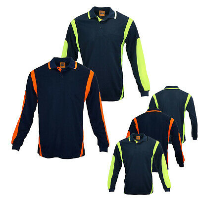 New Hi Vis Polo Shirt Hivis Arm Panel Piping Work Wear Cool Dry Long Sleeve