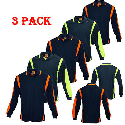 3 Pack Hi Vis Polo Shirt Hivis Arm Panel Piping Work Wear Cool Dry Long Sleeve