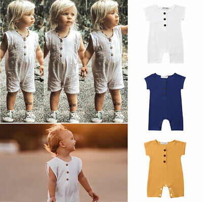 2019 NEW Infants Baby Boys Linen Romper Bodysuit Playsuit Summer Clothes Outfits