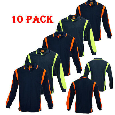 10 Pack Hi Vis Polo Shirt Hivis Arm Panel Piping Work Wear Cool Dry Long Sleeve