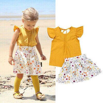 AU STOCK Toddler Baby Girl Holiday Summer Tops Flower Skirt Outfit Set Clothes