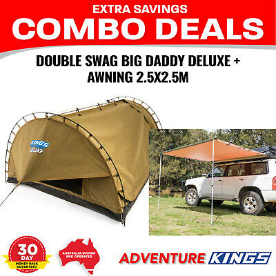 Adventure Kings 'Big Daddy Deluxe' Double Swag + 4wd side Awning - 2.5 x 2.5m