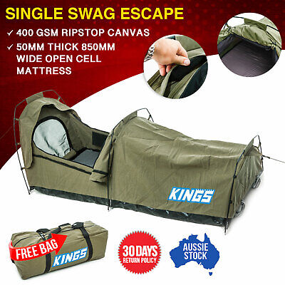 Kings Single Swag Escape Canvas 50mm Mattress Tent Hiking Free Dome Poles Daddy