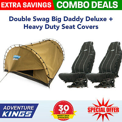 Adventure Kings 'Big Daddy' Deluxe Double Swag + Kings Heavy Duty Seat Covers
