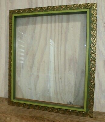 Wood Picture Mirror Frame Clear Glass Green Gold Ornate Metal Trim